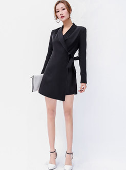 Elegant Black Turn Down Collar Tie-waist Asymmetric Romper