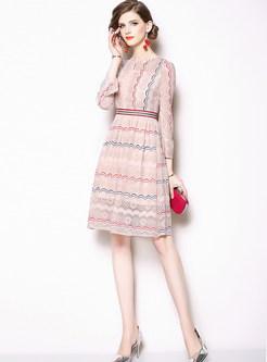 Sweet O-neck Falbala Three Quarters Sleeve Lace Dress