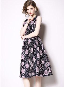 Fashion Sleeveless Embroidered Jacquard Skater Dress