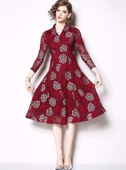Vintage V-neck Long Sleeve Print Skater Dress