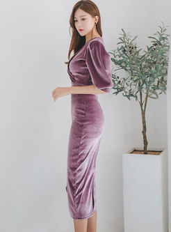 Purple Velvet Puff Sleeve V-neck High Waist Bodycon Dress