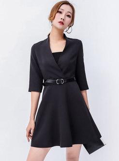 Chic Black V-neck Half Sleeve Slim Skater Dress ... bebee5fd6