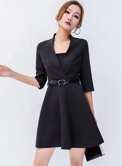 ... Chic Black V-neck Half Sleeve Slim Skater Dress ... 833efb841