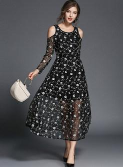 O-neck Off Shoulder Long Sleeve Embroidered Mesh Dress