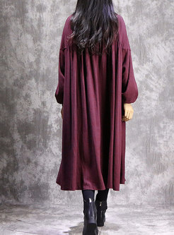 Vintage Solid Color Stand Collar Loose Maxi Dress