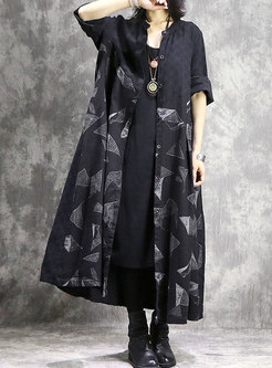 Retro Print O-neck Hem Single-breasted Loose Coat