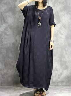 Vintage Plaid O-neck Loose Asymmetric Maxi Dress