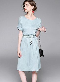 Fashion Green Crew-neck Short Sleeve Skater Dress