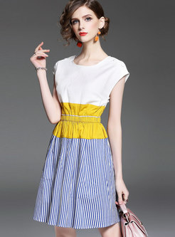 Stylish White O-neck Stitching Striped A Line Dress