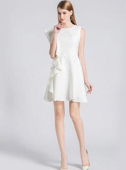 Elegant White O-neck Sleeveless Falbala Mini Dress