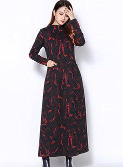 Elegant Print Half Turtle Neck Ankle-length Thick Dress
