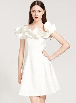 Chic White Ruffled Collar Slim Skater Dress