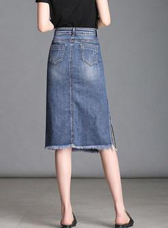 High Waist Rough Hem Slit Knee-length Skirt