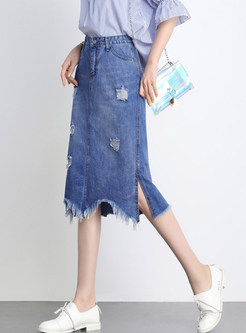 Brief High Waist Holes Irregular Hem Slim Skirt