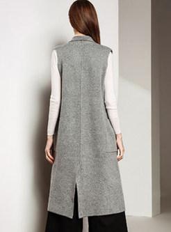 Stylish Notched Sleeveless Big Pocket Slit Vest