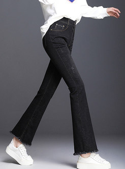 Brief High Waist Slim Rough Selvedge Denim Flare Pants