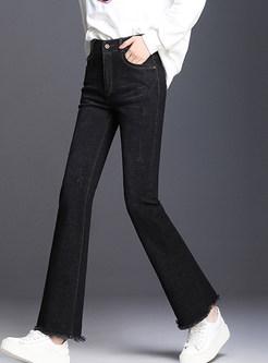 Brief High Waist Slim Rough Selvedge Denim Flare Pants