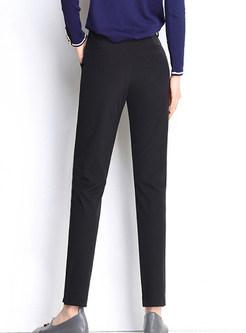 Casual Black High Waist Slim Pencil Pants