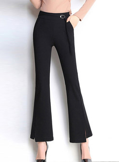 Fashion Solid Color High Waist Flare Pants With Metal