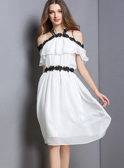 Sweet Halter Lace Selvedge Splicing Chiffon Dress