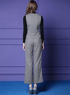 Black Slim Sweater With Plaid Asymmetric Belted Vest & Wide Leg Pants