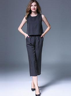 O-neck Sleeveless Falbala T-Shirt & Striped Straight Pants