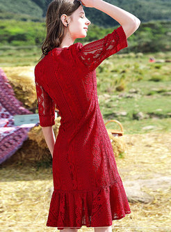 Red Half Sleeve Lace-paneled Hollow Out Dress