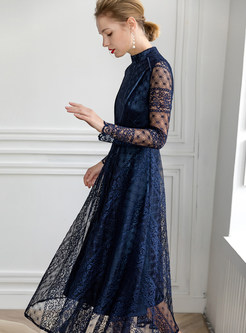 Fashion Standing Collar Long Sleeve Embroidered Lace Dress