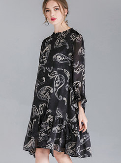 Stylish Crew-neck Print Pleated Loose Dress