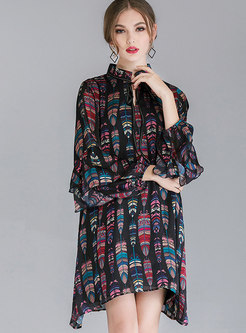 Black Fashion Tie-neck Bowknot ALL Over Print Dress