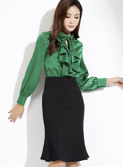 Color-blocked Lapel High Waist Falbala Mermaid Dress