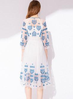 Trendy Three Quarters Sleeve Waist Mesh A Line Dress