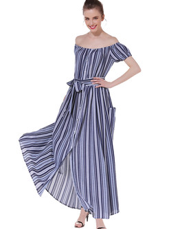 Bohemian Sexy Slash Neck Bowknot Waist Striped Maxi Dress