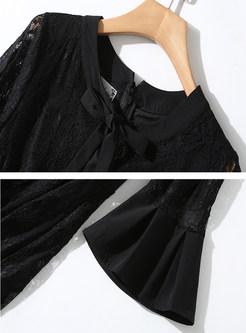 Solid Color O-neck Flare Sleeve Skater Dress