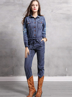 Casual Lapel Embroidered Tie-Waist Jumpsuit