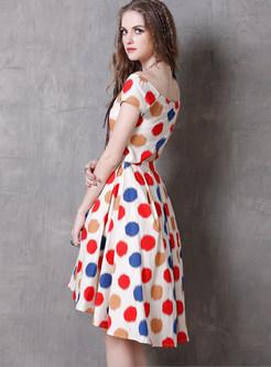 Elegant Slash Neck Color-blocked Polka Dot Print Dress
