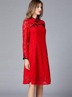 Vintage Mandarin Collar Long Sleeve Waist A Line Dress