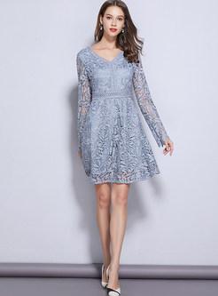 Sweet V-neck Long Sleeve High Waist Mini Skater Dress