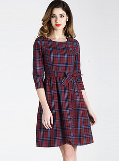 Brief O-neck Three Quarters Sleeve Plaid Bowknot Waist Dress