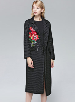 Elegant Notched Embroidered Single-breasted Woolen Coat