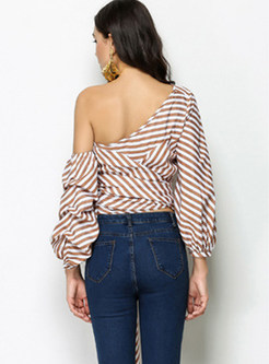 Sexy Off Shoulder Bowknot Tied Striped Blouse