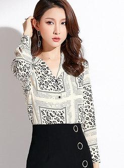Apricot V-neck Leopard Long Sleeve Cardigan Top