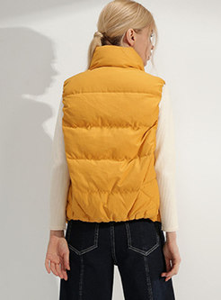 Solid Color Stand Collar Single-breasted Down Vest