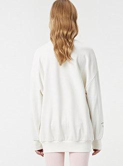 Casual Letter Print O-neck Loose Sweatshirt