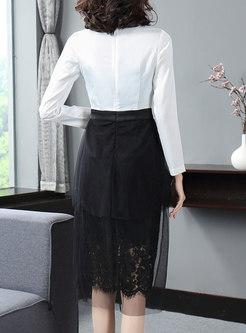 Elegant Mesh Splicing V-neck High Waist Sheath Dress