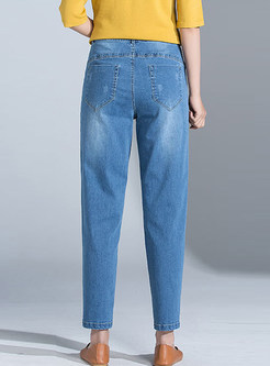 Fashion High Waist Pocket Denim Harem Pants