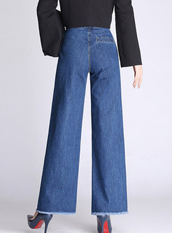 High Waist Solid Color Rough Selvedge Wide Leg Pants