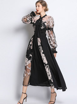 Black Long Sleeve Party Maxi Dress Without Cami