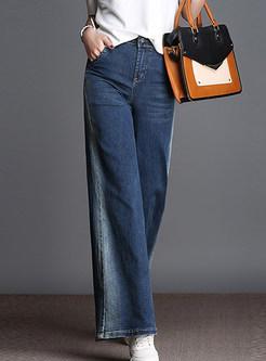 Color-blocked High Waist Plus Size Wide Leg Pants