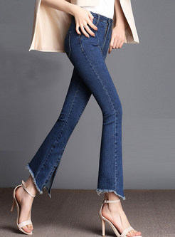Solid Color Slit Irregular Rough Selvedge Flare Pants